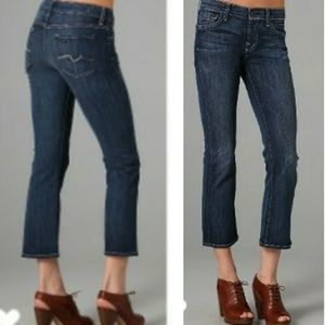 7FAM crop flare denim jeans mid rise
